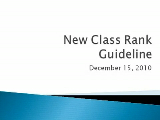 New Class Rank Guideline